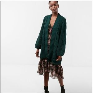 Express chenille knit balloon sleeve cardigan